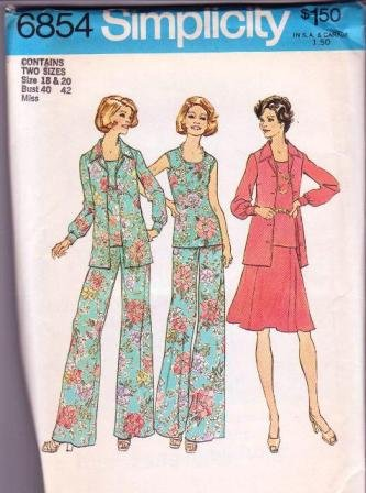 Simplicity Pattern 6854 Vintage 1974 Woman�s Pants Skirt Top Sizes 18&20