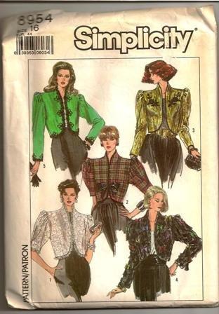 Simplicity Pattern 8954 Bolero Lined Jacket 1989 Vintage Misses Size 16