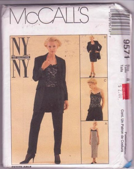 McCall�s Pattern 9571 NY The Collection Uncut Lined Jacket Dress Top Pants Size 8
