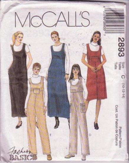 McCall's 2893 Pattern Misses' Miss Uncut Petite Jumper Jumpsuit Two Lengths Sizes 10 to 14