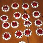 Polka Dot Novelty Plastic Buttons w/ Red Faux Stones Attached 8 Lot