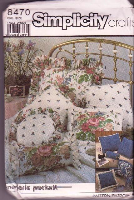 Simplicity Crafts 8470 Vintage Pattern Marjorie Puckett Pillows / Shams 10 Designs Uncut 1987