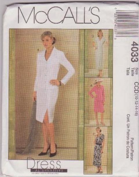 McCall's Sewing Pattern 4033 Misses / Petites Size 10-16 Button Front Jackets Dresses Skirt Suit