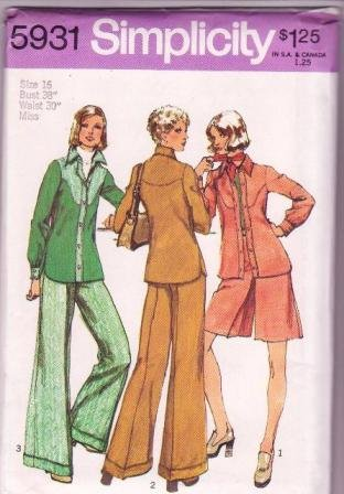 Simplicity 5931 Pattern Vintage 1973 Misses Shirt-Unlined Shirt-Jacket Pantskirt & Pants Size 16