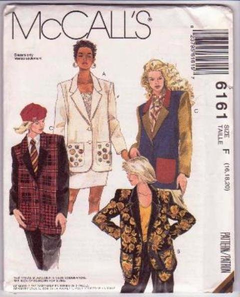 McCall�s 6161 Misses' Unlined Jackets Pattern Sizes 16 to 20 Dated 1992 Uncut Extended Shoulders.