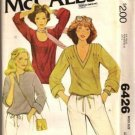 McCall's Vintage Pattern 6426 Misses Retro Knit Tops Stretch Knits Only Neckline Variations 14-16