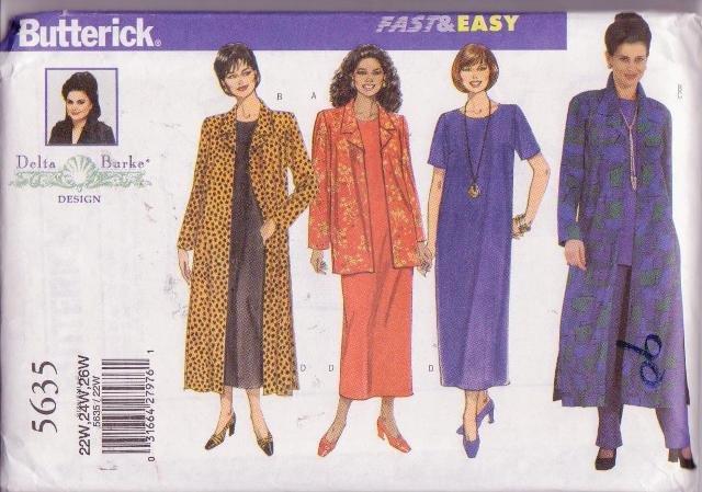 Butterick Pattern Delta Burke 5635 Women�s Jacket Duster Top Pants Dress 22W-26W