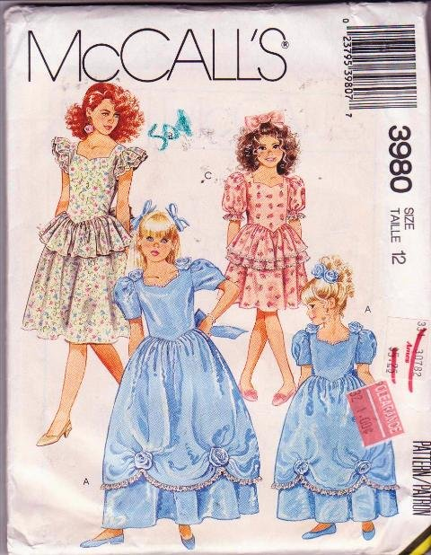 McCall�s Vintage Girls Gown & Dress Sewing Pattern 6926 Dated 1988 Size 12