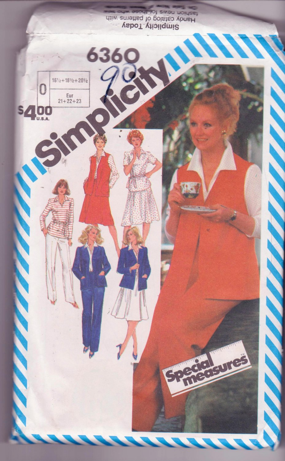 Vintage Womans Simplicity Sewing Dress Jacket Wardrobe Pattern 16 ½ to 18 ½ Dated 1983
