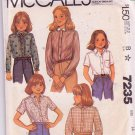 Vintage 1980 McCall's Girls Blouse Pattern 7235 Button Front Shirt Size 14