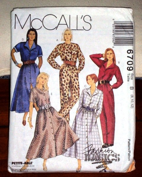Misses McCall�s Classic Shirtdress & Jumpsuit Pattern 6709 Sizes 8-12 Petit-Able Dated 1993