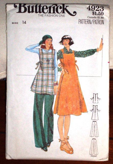 Vintage Butterick Pattern 4923 Maternity Jumper Dress Pattern Top Pants © 1970�s Size 14