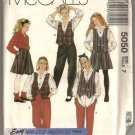 Vintage 1990 McCalls Pattern 5050 Girls Reversible Vest Blouse Split Skirt Pants Size 7