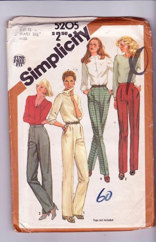 Simplicity Sewing Pattern 5205 Misses Pants Trouser Cut Size 12 Vintage © 1981 Uncut