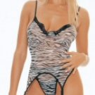 3 Piece Zebra Print Cami Top w/G-String & Stockings