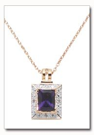 Amethyst & Diamond Slider Pendant