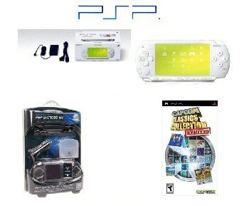 "Sony PSP ""Limited Edition"" Ceramic White ""Super Mega Bundle"" - 20 Games + PSP Car Kit"