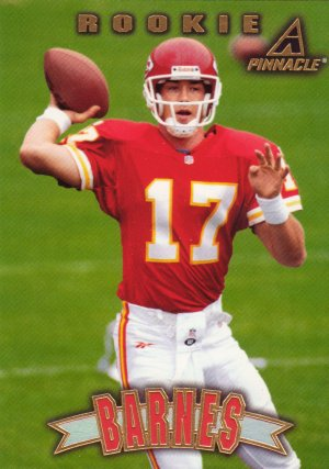 Pat Barnes Rookie Pinnacle 1997 Football Trading Card Chiefs