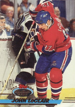 John LeClair Topps Stadium Club 1993 Hockey Trading Card Canadiens