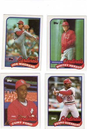 St. Louis Cardinals Baseball Trading Cards Lot of 4 Topps 1989