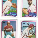 Philadelphia Phillies Baseball Trading Cards Lot of 4 Topps 1989