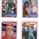 Philadelphia Phillies Baseball Trading Topps 1989 Cards Lot of 4