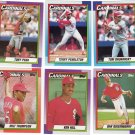 St. Louis Cardinals Baseball Trading Cards Lot of 6 Topps 1990