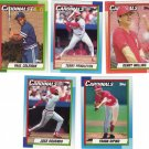 Baseball Trading Cards St. Louis Cardinals Lot of 5 Topps 1990