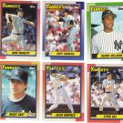 New York Yankees Baseball Trading Cards Lot of 6 Topps 1990