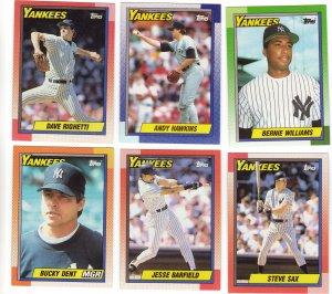 New York Yankees Baseball Trading Cards Lot of 6 Topps 1990