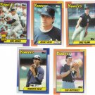 New York Yankees Baseball Trading Cards Topps 1990 Lot of 5