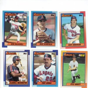 Los Angeles Angels Baseball Trading Cards Topps 1990 Lot of 6