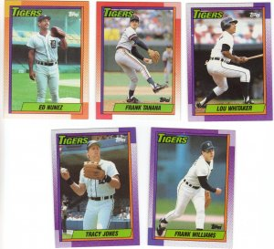 Detroit Tigers Baseball Trading Cards Topps 1990 Lot of 5