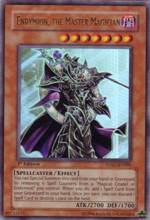 YuGiOh Trading Card Endymion The Master Magician SDSC EN001 1st Edition Rare