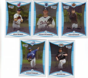 Topps 2008 Trading Cards Baseball (5) 1st Bowman Chrome