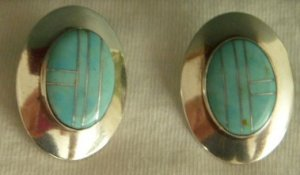 Navajo Oval Turquoise Pierced Earrings, Edith James