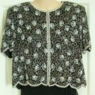 Black and White Beaded Scalloped Evening Top, Size L