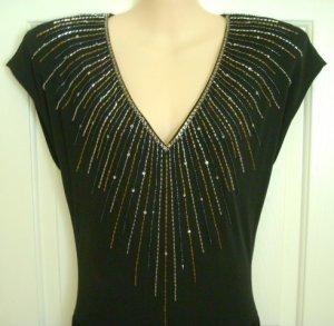 Vintage 1980's Nuit for I Magnin Black Evening Dress, Size 10