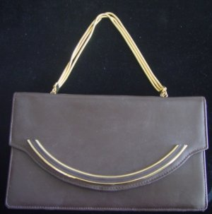 Vintage 50's - 60's Brown Leather Handbag w/ Gold Metal Handles
