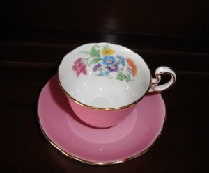 Aynsley Hot Pink Demitasse Cup and Saucer, 1920's