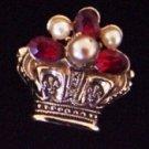 Vintage Crown Brooch Pin w/ Faux Pearls and Ruby Red Rhinestones