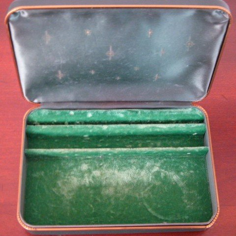 Vintage 1950's Farrington Jewelry Box, Green Leather