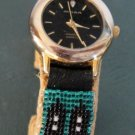 Navajo Ladies Beaded Watch Bracelet with Prayer Feathers