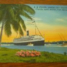 S. S. Florida in Miami, Linen Postcard Post Card, Used, 1953