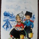 Dutch Boy & Girl Holding Pails Post Card Postcard, Unused