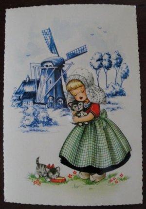 Dutch Girl Holding Kitten Post Card Postcard, Unused