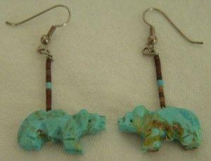 Zuni Turquoise Bear Fetish Pierced Earrings