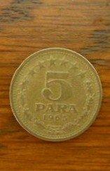1965 5 Para Coin, KM42, Jugoslavija