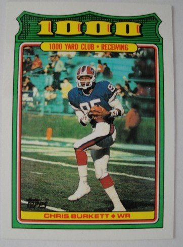1988 Topps 1000 Yard Club Football Card, Christ Burkett, Buffalo Bills