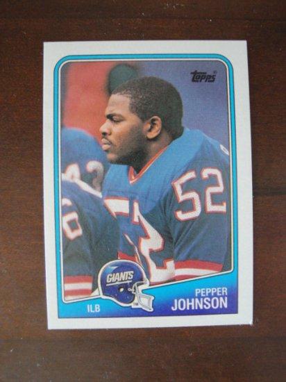 1988 Topps Football Card, Pepper Johnson, NY Giants